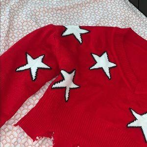 Red Crop sweater w white stars.